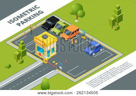 Isometric Illustrations Of Urban Paid Parking With Various Cars. Vector Car City Isometric, Auto Are