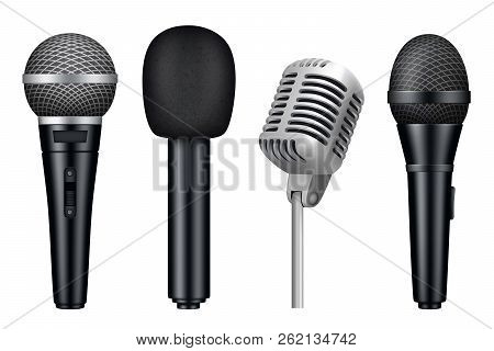 Microphones 3d. Music Studio Misc Mic Equipment Vector Realistic Pictures Of Vintage Style Microphon