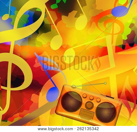 Music Playing Background With Dancing Musical Notes And Radio