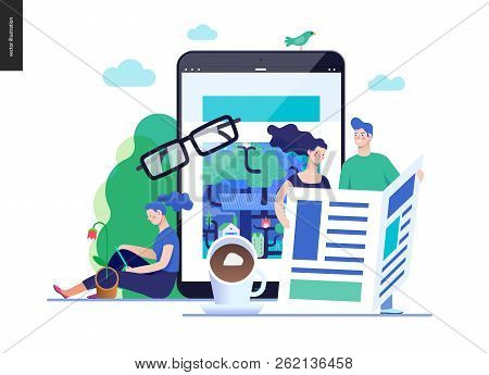Business Series, Color 3 - News Or Articles- Modern Flat Vector Illustration Concept Of People Readi