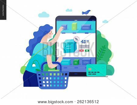 Business Series, Color 3 -buy Online Shop -modern Flat Vector Illustration Concept Of Woman Shopping