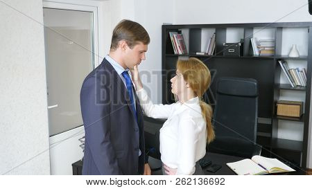 Interview With The Interlocutor Or A Meeting: A Business Man And A Woman. Humor, Irony