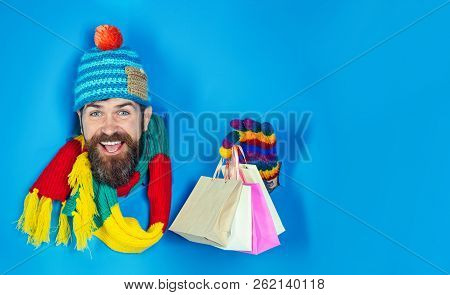 Sale, Discount, Fashion, Retail, Consumer, Advertisement, Black Friday Concept. Bearded Man In Warm