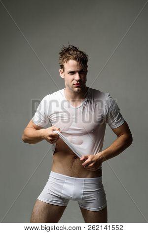 Sexy Man In Underwear. Muscular Male Model In White Underwear. Men's Swimwear And Underwear. Workout