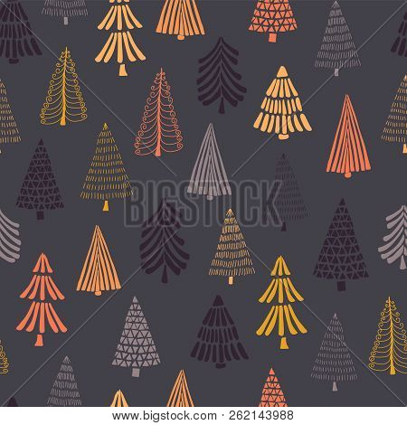 Doodle Autumn Trees Seamless Vector Background. Modern Holiday Pattern For Thanksgiving, Christmas.