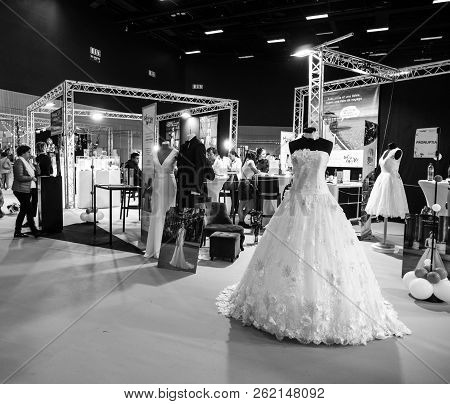 Paris, France - Oct 6, 2018: Wedding Exhibition Paris 2018 With Beautiful Wedding Dresses And People