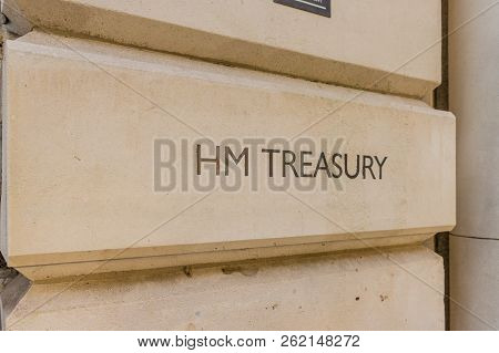 London. September 2018. A View Of A Sign For Hm Treasury In London
