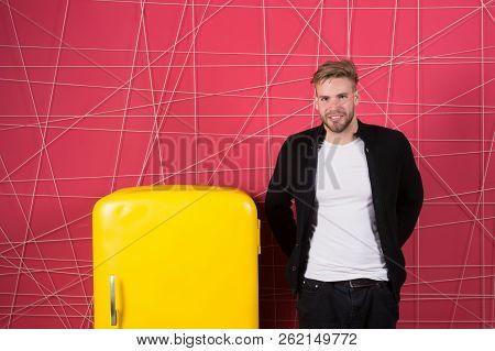 Man Interior Designer Near Fridge. Bright Fridge Household Appliances Interior Object. Designer Addi
