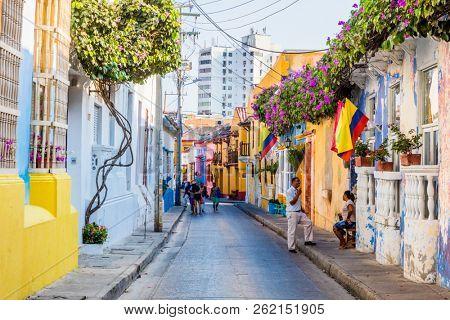 Cartagena , Colombia  - March 9, 2017 : Colorful streets of Getsemaniaera of Cartagena de los indias Bolivar in Colombia South America