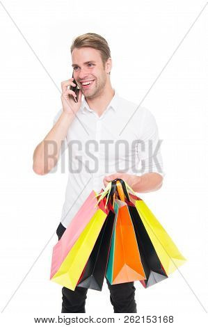 Excited Young Man Doing Online Shopping. Cyber Monday And Black Friday Concept. Big Sale In Shopping