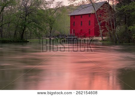 Red Mill Barn On The Other Side Of Pond And Hiking Trails, Old Grist Mill, Farm Community