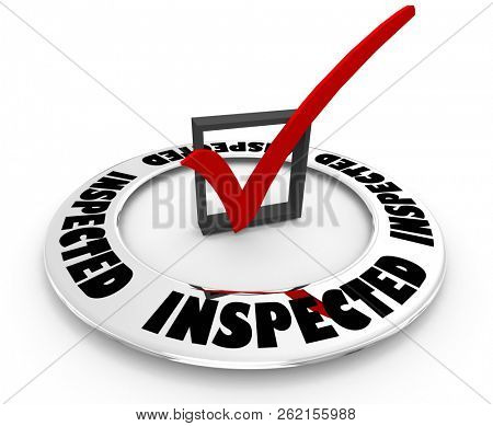 Inspected Approved Inspection Pass Check Mark Box Word 3d Illustration