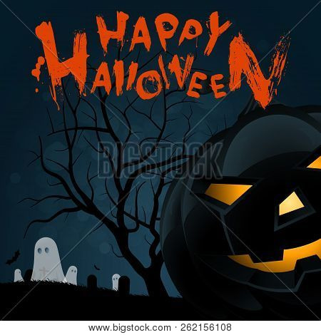 Halloween Background With Pumpkin, Cemetery, Tree And Ghosts