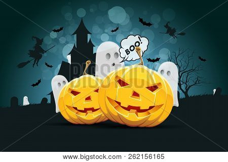 Halloween Background With Ghosts, Haunted House, Tree, Pumpkins And Witch