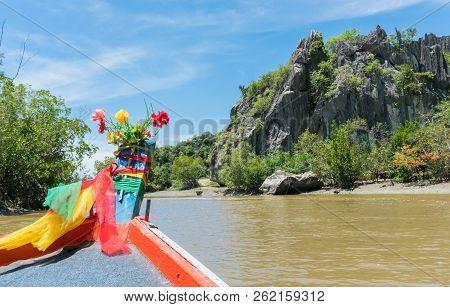 Khao Dang Canal Boat Trip At Prachuap Khiri Khan Thailand. Boat Or Fishing Boat And Rock Or Stone Mo
