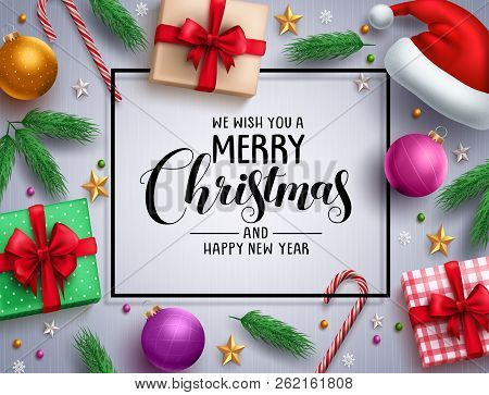 Christmas Vector Background Template With Merry Christmas Greeting In White Space And Colorful Eleme