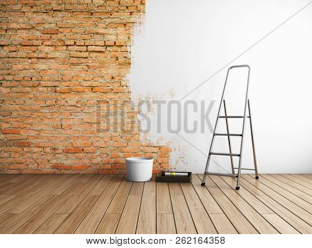 Repair in loft style stucco with painting of brick walls. 3D illustration.