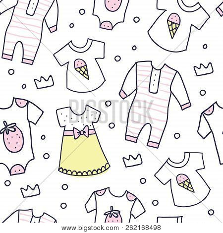 Seamless Background, Texture, Backdrop, Pattern, Wallpaper With Children Cartoon Doodle Clothing. Ba