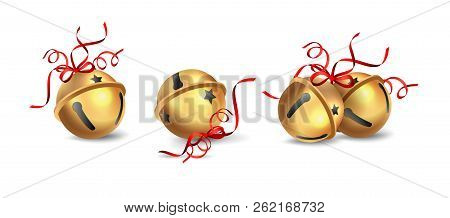 Set Of Golden Christmas Jingle Bells With Red Bow Isolated On White Background