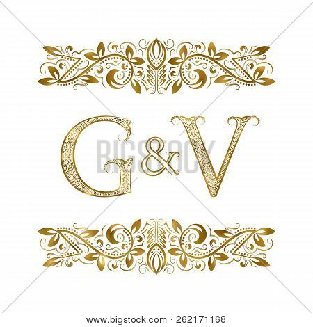 G And V Vintage Initials Logo Symbol. The Letters Are Surrounded By Ornamental Elements. Wedding Or