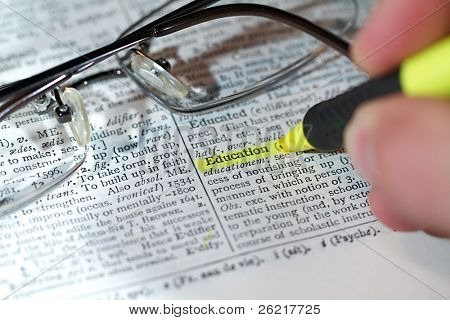 Close up view of a business word defition in a dictionary