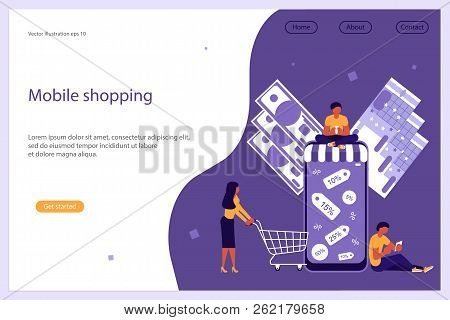 Web Banner Design Template. Business People, Man And Woman Shop Online Using Smartphone. Concept For