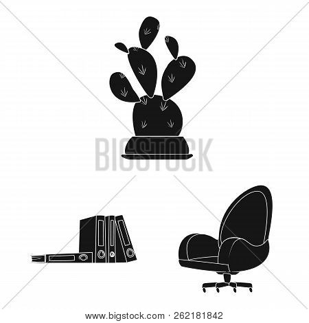 Vector Illustration Of Furniture And Work Icon. Set Of Furniture And Home Vector Icon For Stock.