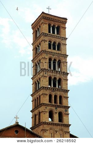 The bell tower on the church of the Bocca di Verita (Mouth of truth) in Rome Italy