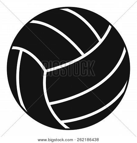 Black Volleyball Ball Icon. Simple Illustration Of Black Volleyball Ball Icon For Web