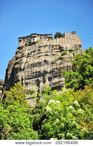 View Of Meteora Monastery On The Cliffs