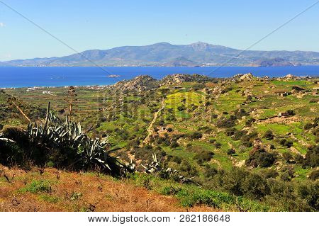 Summer Landscape With Aegean Sea, Green Hills And Meadows