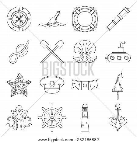 Nautical Icons Set. Outline Illustration Of 16 Nautical Icons For Web