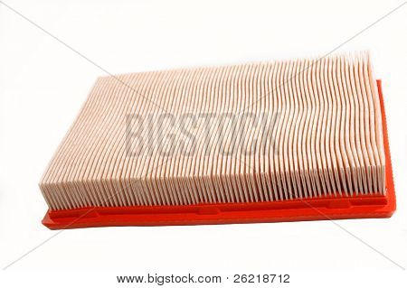 Automotive air filter on a white background