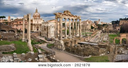 Panoramic view of Roman Forum from the Capitol hill Roma Italy poster