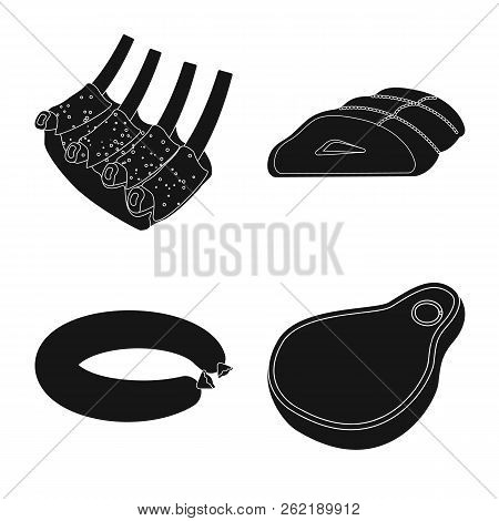 Vector Design Of Meat And Ham Sign. Set Of Meat And Cooking Stock Vector Illustration.