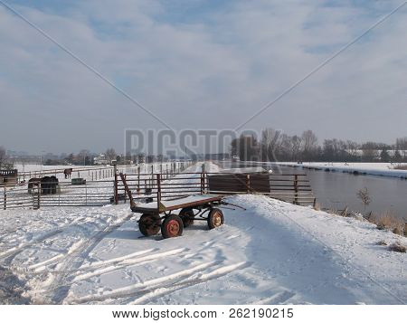 Snow On The Meadows In The Winter In Nieuwerkerk Aan Den Ijssel In The Netherlands.