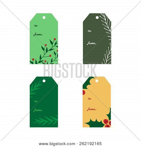 Hand Drawn Gift Tags With Inscription. Holiday Christmas Gift Label Set With Mistletoe And Conifer T