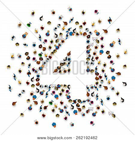 Large Group Of People In Number 4 Four Form. People Font . Vector Illustration