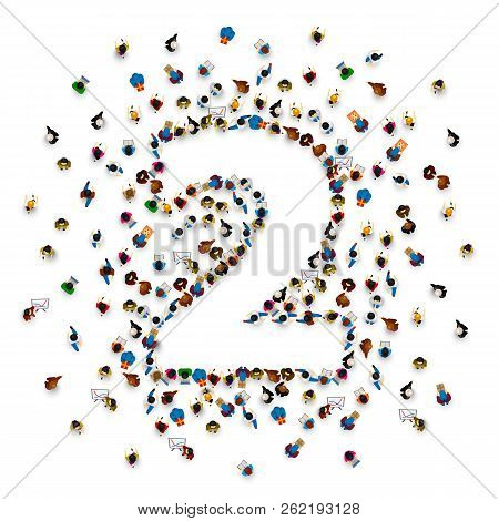 Large Group Of People In Number 2 Two Form. People Font . Vector Illustration