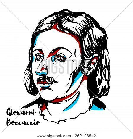 Giovanni Boccaccio Engraved Vector Portrait With Ink Contours. Italian Writer, Poet, Correspondent O