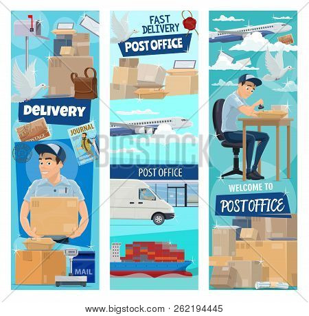 Post Mail Delivery Banners For Postage Logistics. Vector Flat Design Of Postman Profession Or Mailma