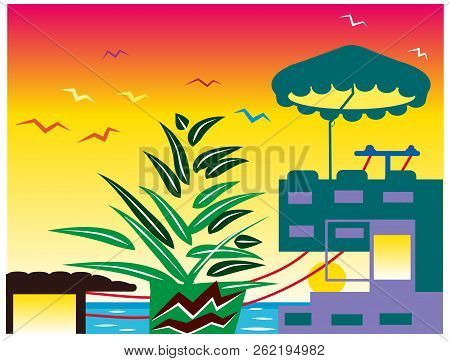 Summery.  Beautiful Summerhouse Near The Sea And Sunrise. Illustration Of Summery And Sea Background