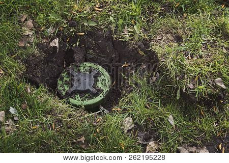 Anti-personnel Mine In The Ground. Dig Mine. Antipersonnel Mine. Mining. Demining. Minefield