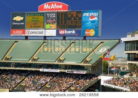 Oakland A's stadium with crowd - editorial use only