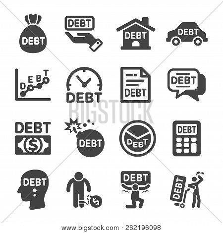 Debt And Liability Icon Set Vector And Illustration