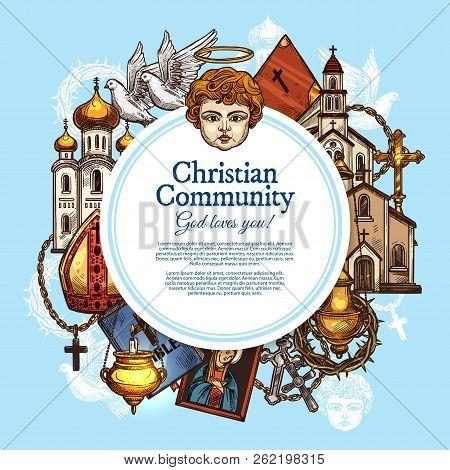 Christian Religious Community, Religion Symbols. Vector Catholic, Protestant Or Orthodox, Evangelic