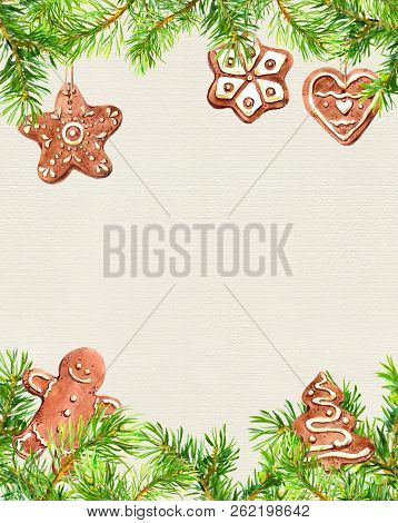 Christmas Cookies, Ginger Man, Conifer Tree Branches Frame. Christmas Card. Watercolor