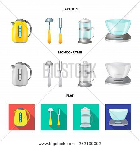 Vector Illustration Of Kitchen And Cook Logo. Collection Of Kitchen And Appliance Stock Vector Illus