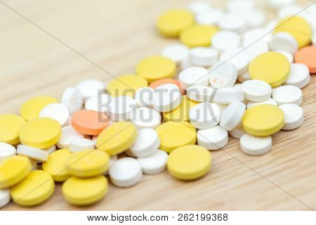 Colorful Pills And Drugs In Close Up. Different Kinds Of Multicolored Pills. Assorted Pills In Medic