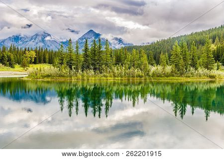 View At The Nature Near Vermillion Lakes In Banff National Park, Canadian Rocky Mountains